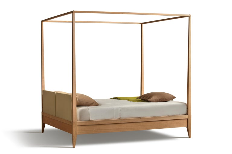 Italian Valentino Canopy Bed Made of Cherrywood with Upholstered Headboard For Sale