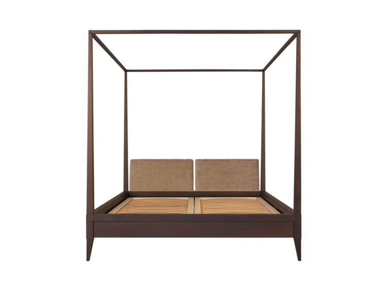 Valentino Canopy Bed Made of Cherrywood with Upholstered Headboard For Sale 2