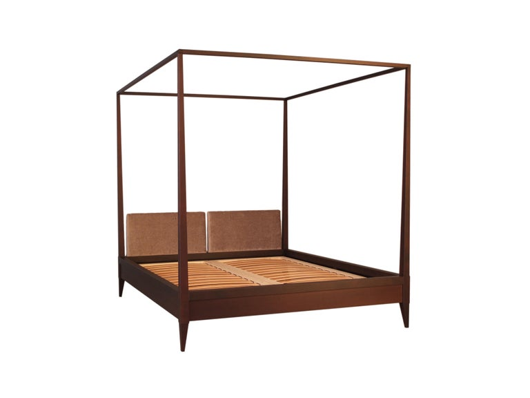 Valentino Canopy Bed Made of Cherrywood with Upholstered Headboard For Sale 3
