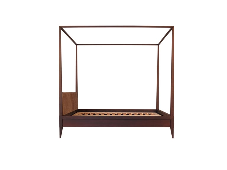 Valentino Canopy Bed Made of Cherrywood with Upholstered Headboard For Sale 4