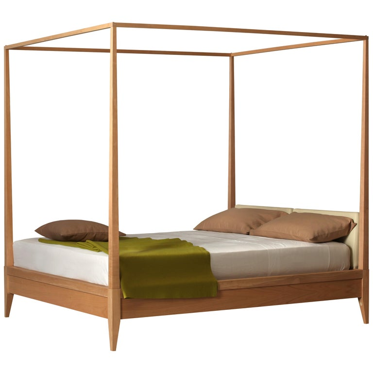 Valentino Canopy Bed Made of Cherrywood with Upholstered Headboard For Sale