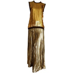 VALENTINO cashmere top with golden sequins and pleated golden skirt - Unworn