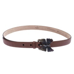 Valentino Cedar Brown Leather Crystal Embellished Butterfly Buckle Belt 85cm