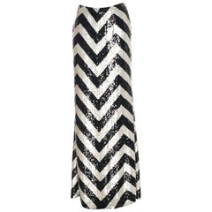 Valentino Chevron Pattern White and Black Silk Sequin Long Skirt It. 44 - US 6