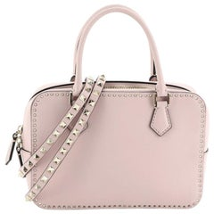 Valentino Convertible Zip Satchel Leather with Micro Rockstuds Small