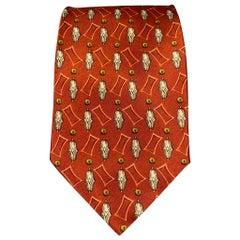 VALENTINO Copper & Cream Satin Silk Tie