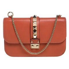 Valentino Coral Orange Leather Medium Rockstud Glam Lock Flap Bag