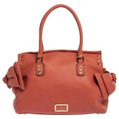 Valentino Coral Orange Leather Rockstud Bow Satchel