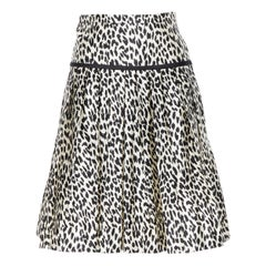 VALENTINO cotton silk black white leopard spot print pleated flared skirt IT38