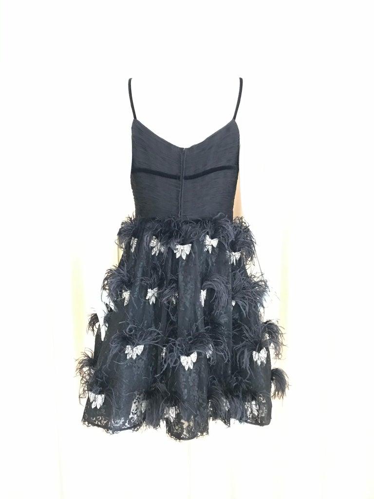 Valentino Couture Black Silk Spaghetti Strap Dress with Ostrich  For Sale 6