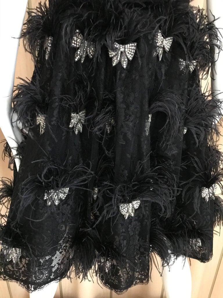 Valentino Couture Black Silk Spaghetti Strap Dress with Ostrich  For Sale 7