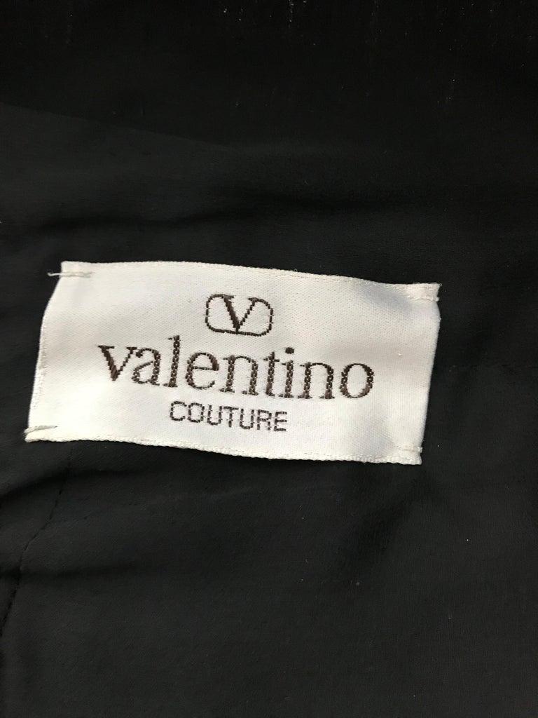 Valentino Couture Black Silk Spaghetti Strap Dress with Ostrich  For Sale 1