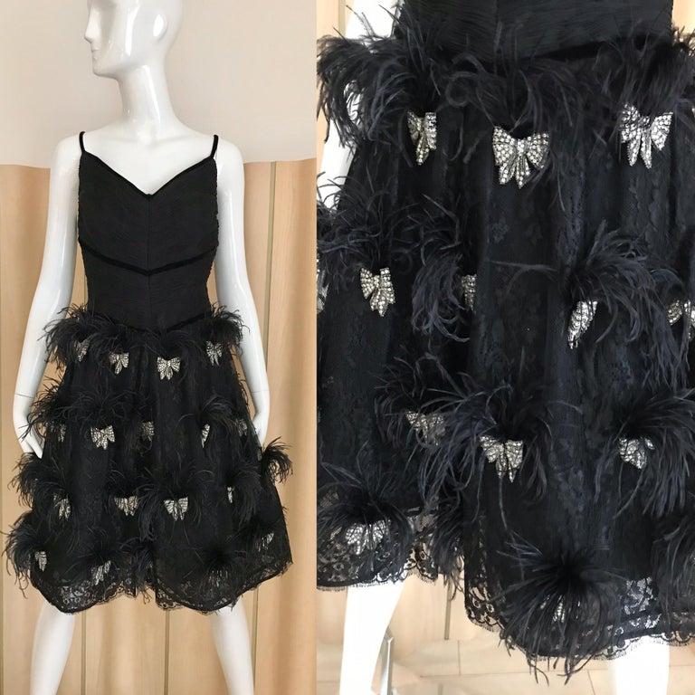 Valentino Couture Black Silk Spaghetti Strap Dress with Ostrich  For Sale 3