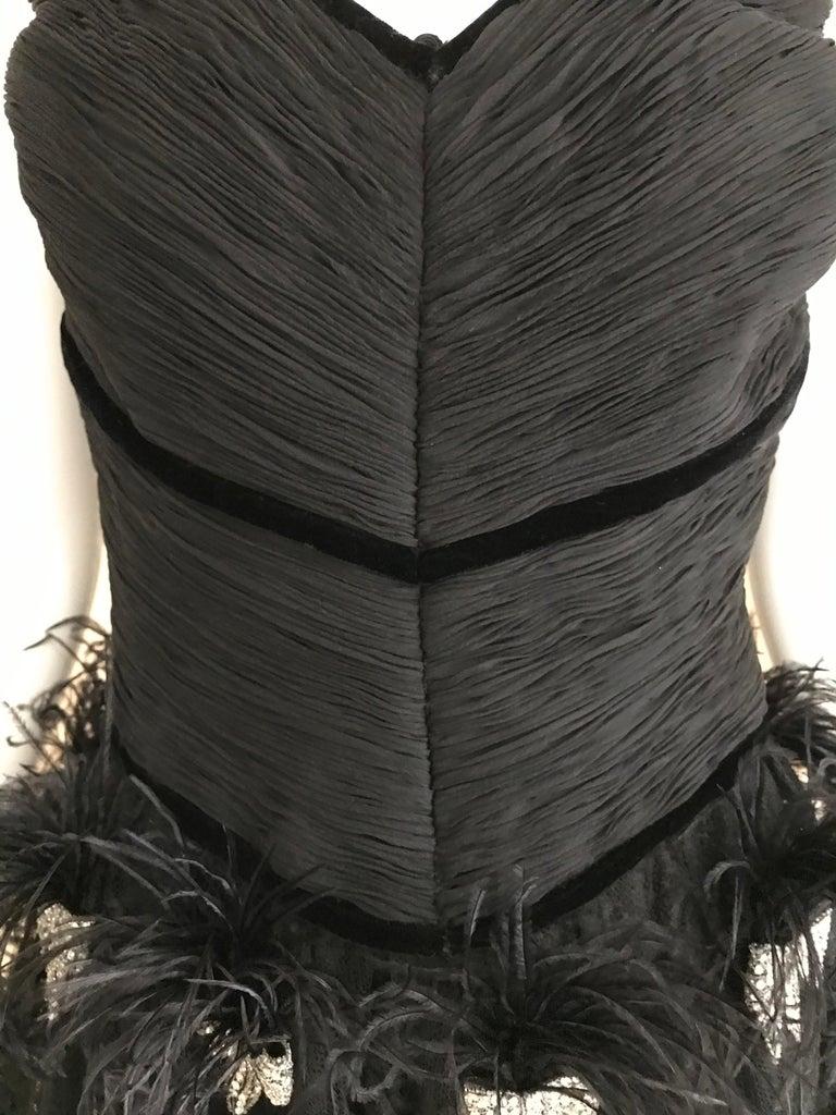Valentino Couture Black Silk Spaghetti Strap Dress with Ostrich  For Sale 4