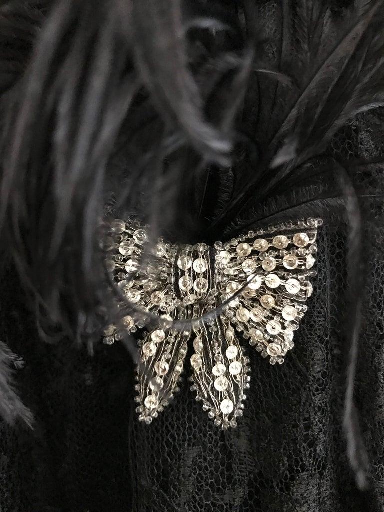 Valentino Couture Black Silk Spaghetti Strap Dress with Ostrich  For Sale 5