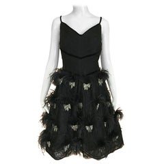 Valentino Couture Black Silk Spaghetti Strap Dress with Ostrich