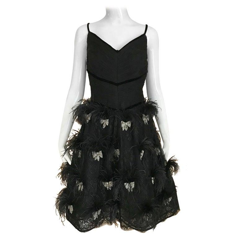 Valentino Couture Black Silk Spaghetti Strap Dress with Ostrich  For Sale