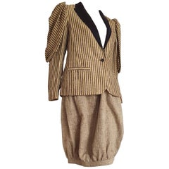 VALENTINO Couture jacket and egg shape skirt, linen and silk suit - Unworn, New