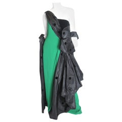 Valentino Couture one-shoulder gown with draping and wrap