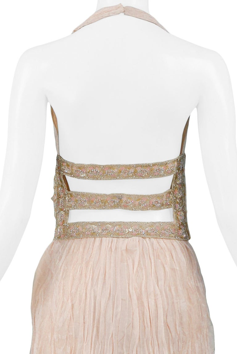 Valentino Couture Peach Floral Silk Runway Evening Gown with Beaded Belt 2007 For Sale 5