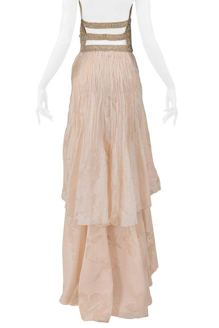 Valentino Couture Peach Floral Silk Runway Evening Gown with Beaded Belt 2007 For Sale 6