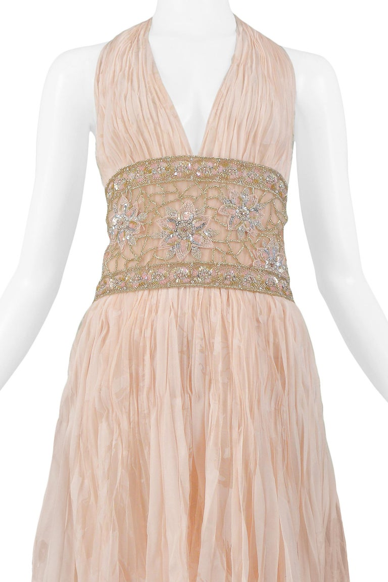 Beige Valentino Couture Peach Floral Silk Runway Evening Gown with Beaded Belt 2007 For Sale