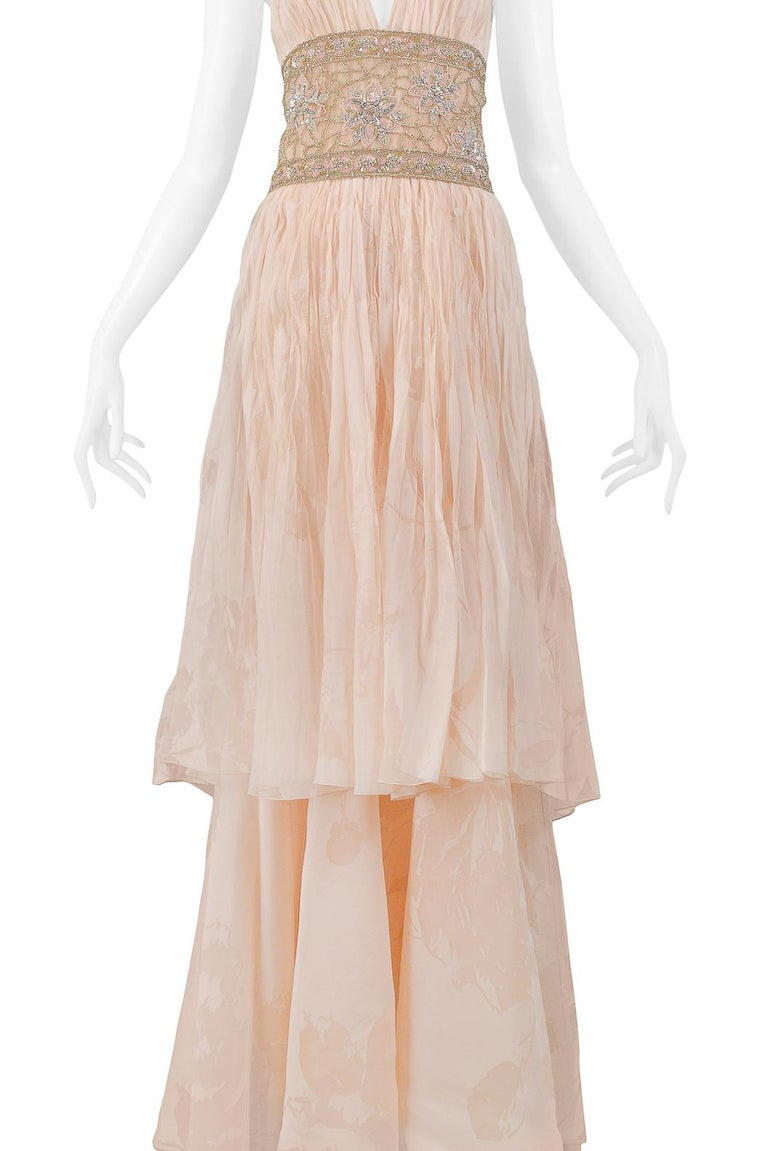 Women's Valentino Couture Peach Floral Silk Runway Evening Gown with Beaded Belt 2007 For Sale