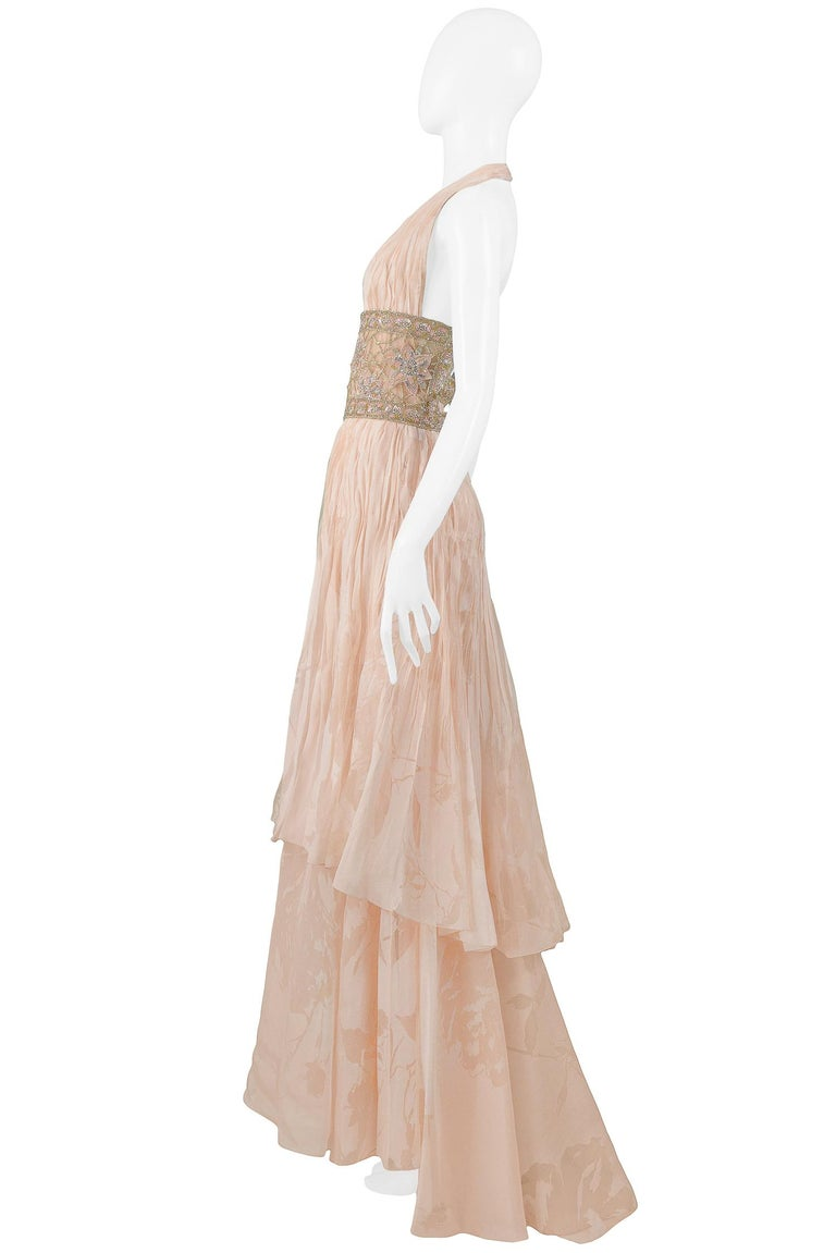 Valentino Couture Peach Floral Silk Runway Evening Gown with Beaded Belt 2007 For Sale 1