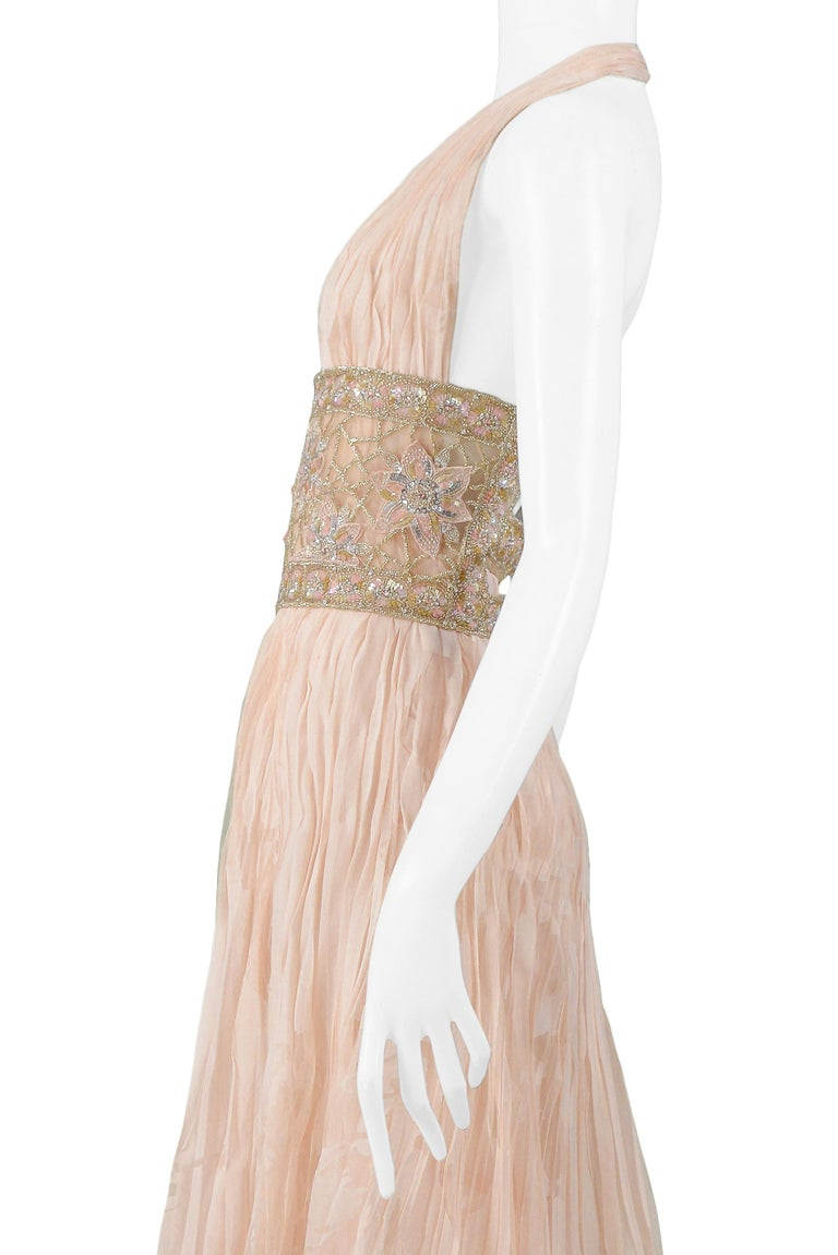 Valentino Couture Peach Floral Silk Runway Evening Gown with Beaded Belt 2007 For Sale 2