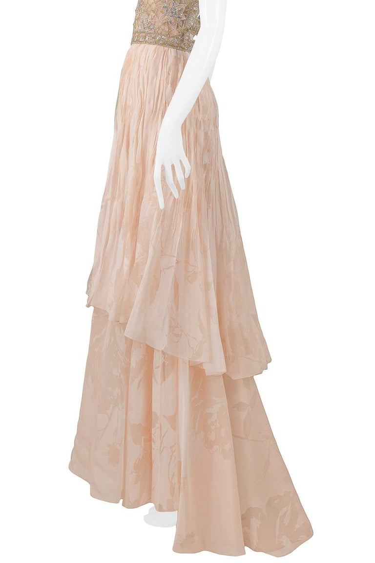 Valentino Couture Peach Floral Silk Runway Evening Gown with Beaded Belt 2007 For Sale 3