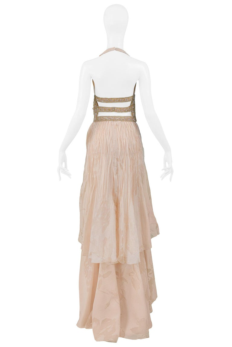 Valentino Couture Peach Floral Silk Runway Evening Gown with Beaded Belt 2007 For Sale 4