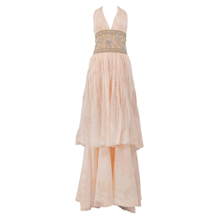 Valentino Couture Peach Floral Silk Runway Evening Gown with Beaded Belt 2007 For Sale