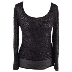 VALENTINO COUTURE Vintage Black Chiffon BEADED BLOUSE Top LONG SLEEVE
