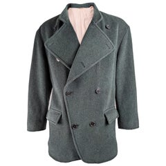 Valentino Couture Vintage Mens Blue-Green Wool Jacket