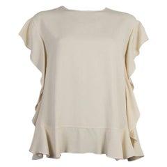 VALENTINO cream acetate RUFFLED SLEEVELESS Blouse Shirt 44 L