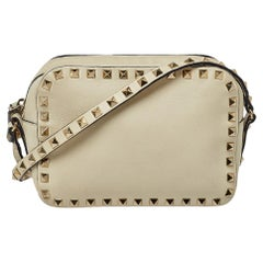 Valentino Cream Leather Rockstud Camera Crossbody Bag