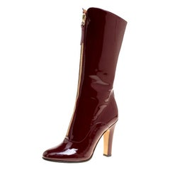 Valentino Crimpson Red Patent Leather Zip Detail Mid Calf Boots Size 37.5