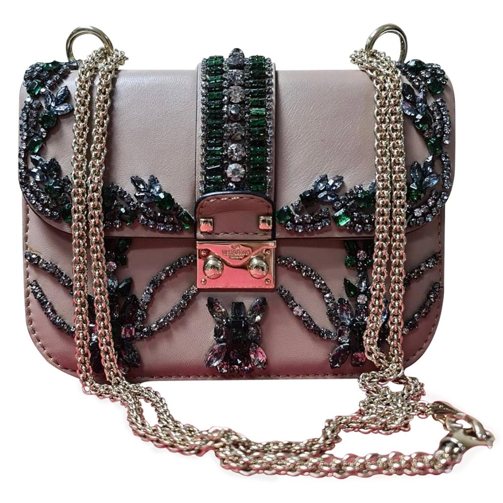 Valentino Crystal Embellished Glam Lock Pink Leather Cross Body Bag