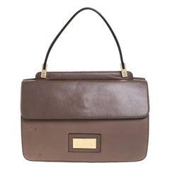 Valentino Dark Beige Leather Bow Top Handle Bag