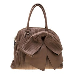 Valentino Dark Beige Pleated Leather Bow Dome Satchel