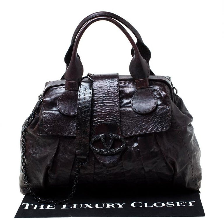 Valentino Dark Brown Leather Crystal Catch Satchel For Sale 7