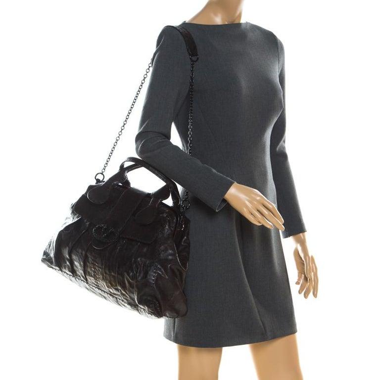 Black Valentino Dark Brown Leather Crystal Catch Satchel For Sale