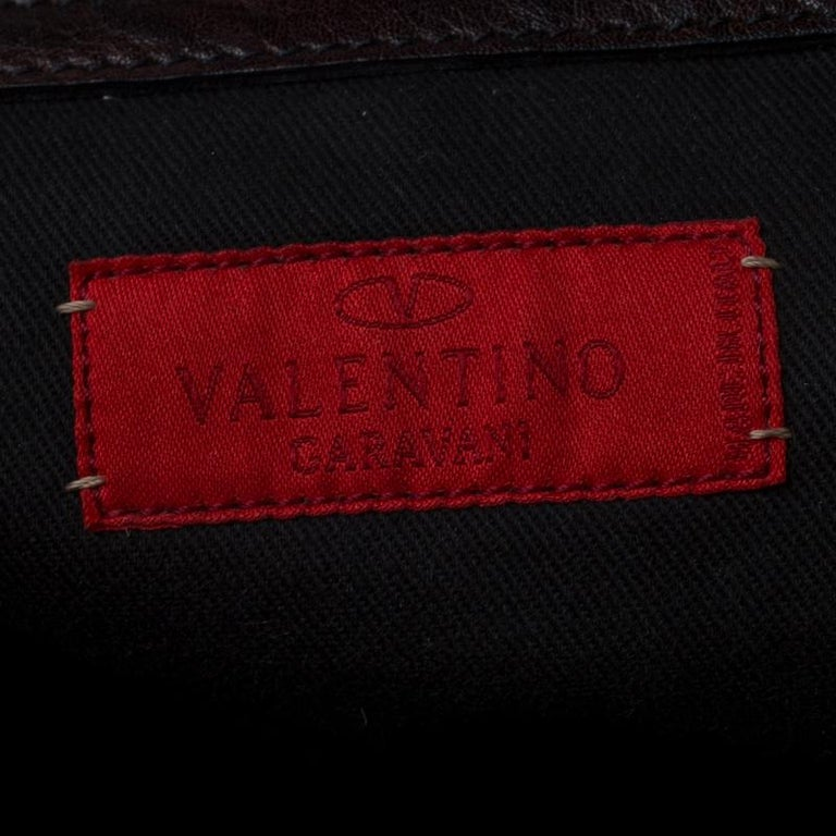 Valentino Dark Brown Leather Crystal Catch Satchel For Sale 2