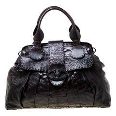 Valentino Dark Brown Leather Crystal Catch Satchel