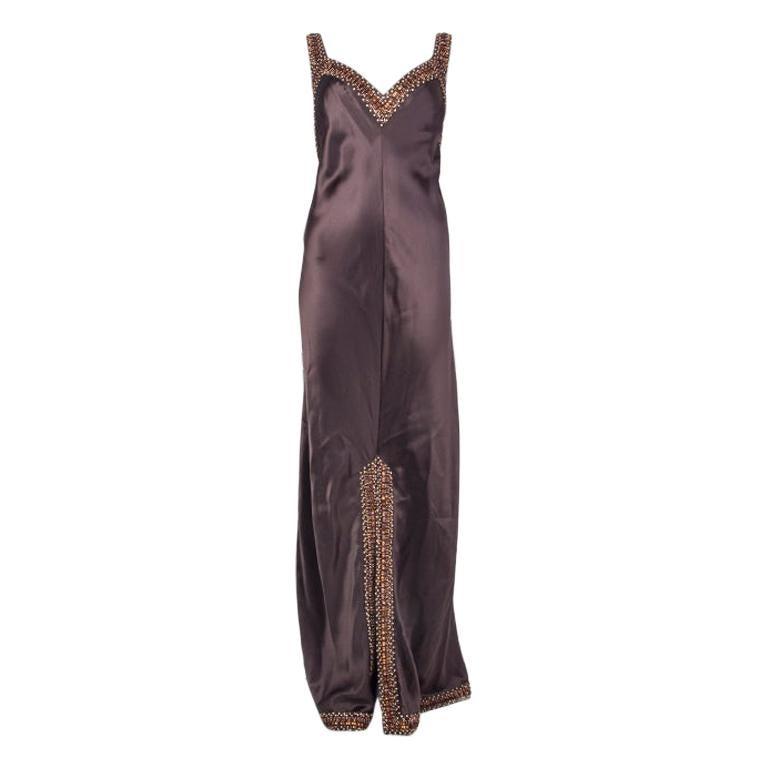 VALENTINO dark brown silk SATIN BEADED Evening Gown Mxi Dress 8
