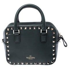 Valentino Dark Green Leather Rockstud Crossbody Bag