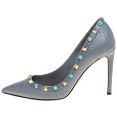 Valentino Dark Grey Leather Rolling Rockstud Pointed Toe Pumps Size 37