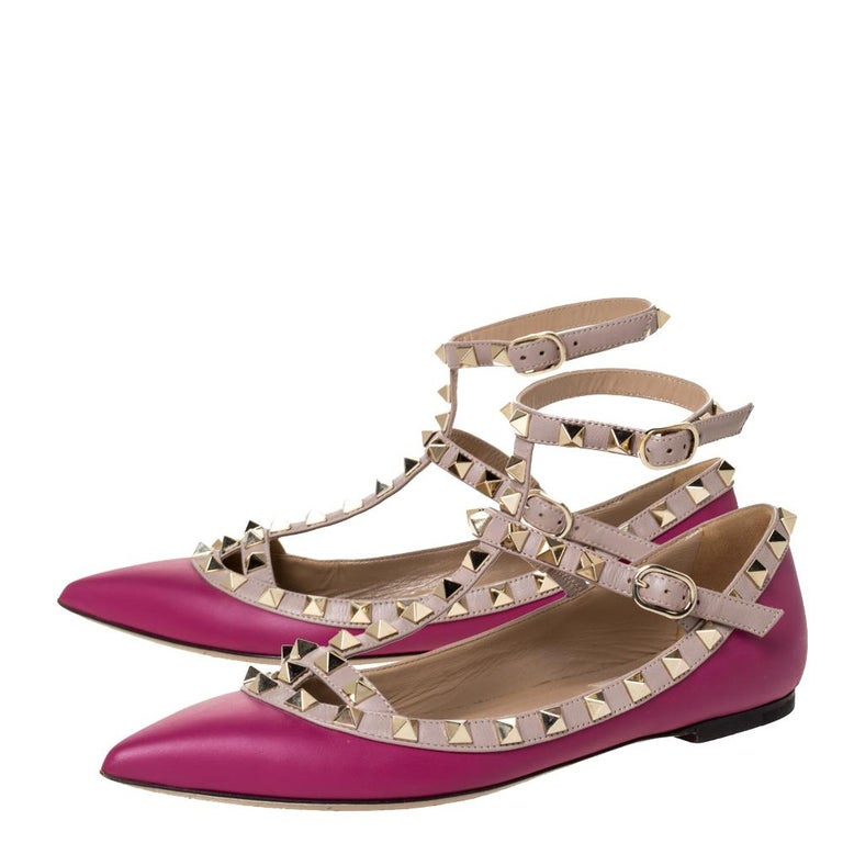 Valentino Dark Magenta Leather Rockstud Cage Ballet Flats Size 36 For Sale 1