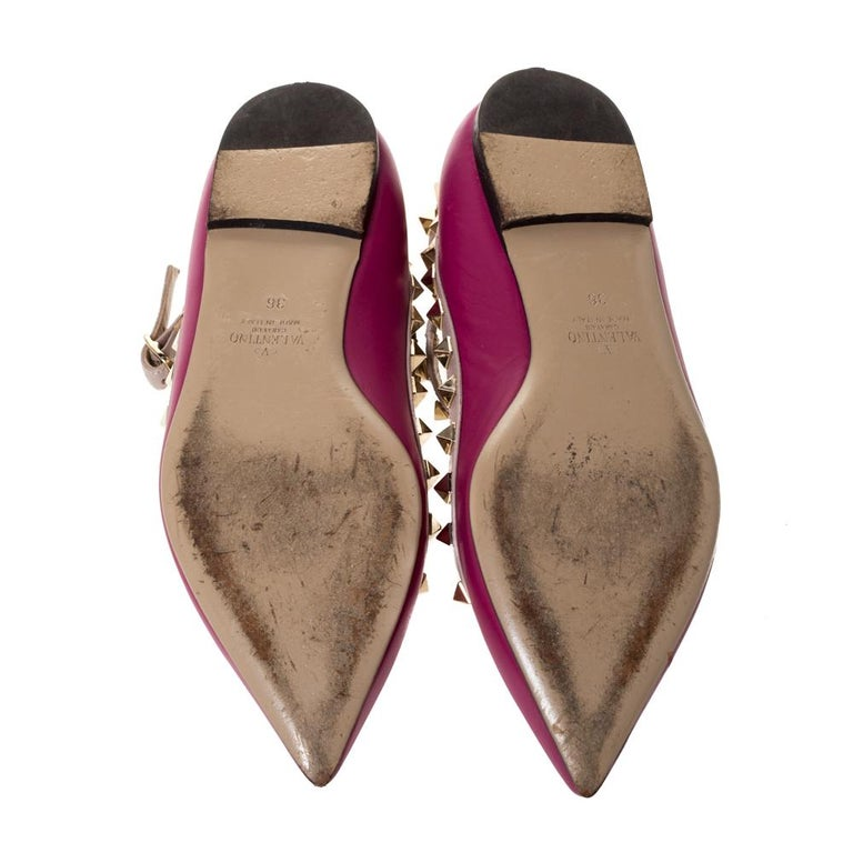 Valentino Dark Magenta Leather Rockstud Cage Ballet Flats Size 36 For Sale 3