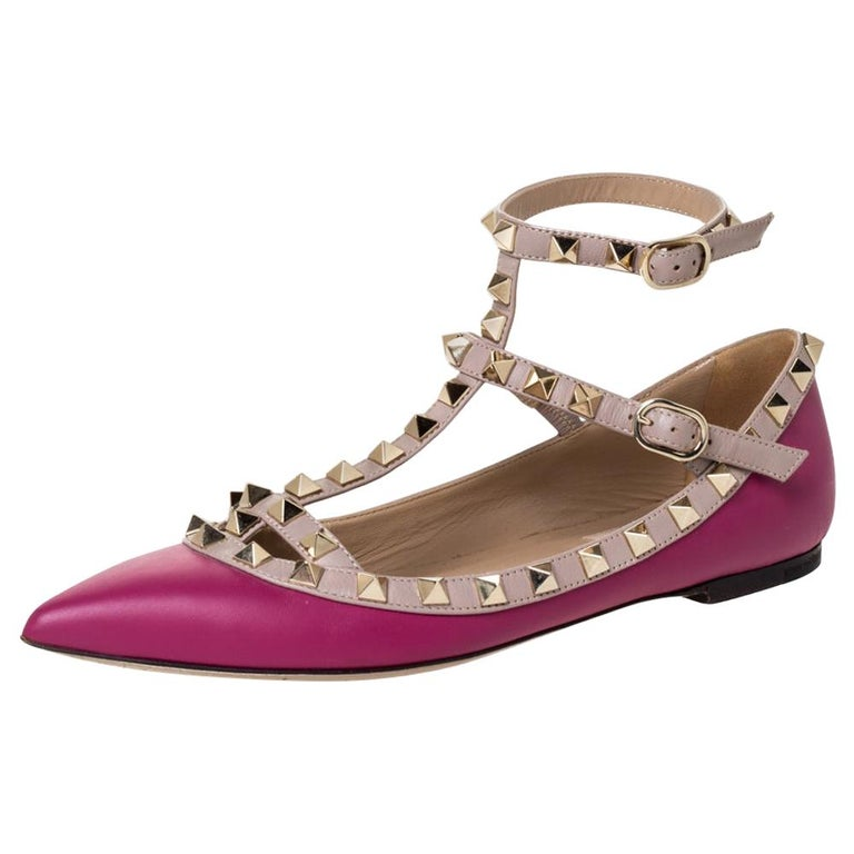 Valentino Dark Magenta Leather Rockstud Cage Ballet Flats Size 36 For Sale